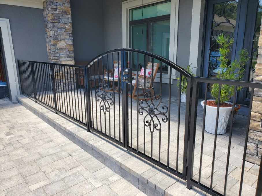 Porch iron railings with entry gate